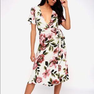 Maretta Cream Floral Print Wrap Midi Dress
